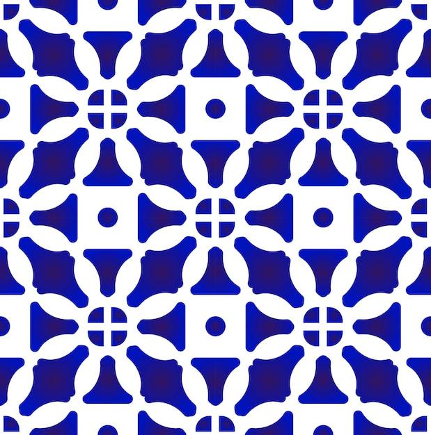 Blue and white decorative tile pattern Premium Vector