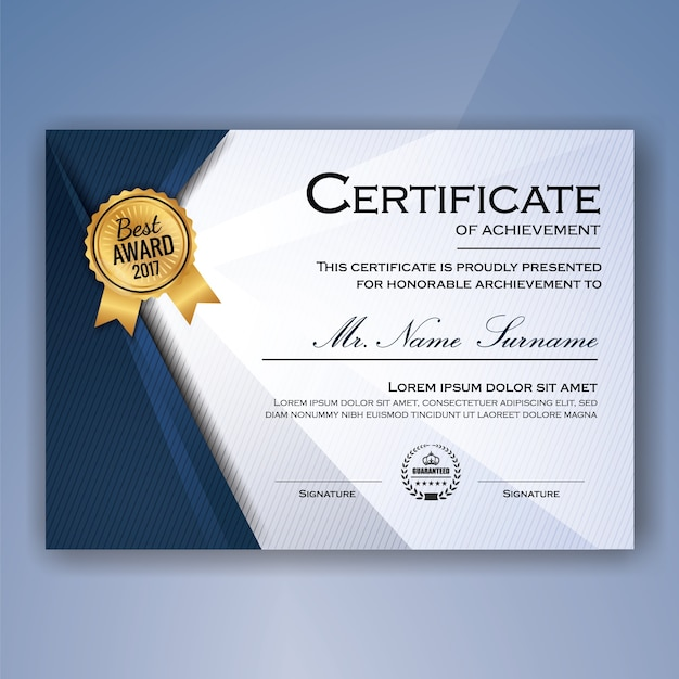 Blue and white elegant certificate of achievement template background Free Vector