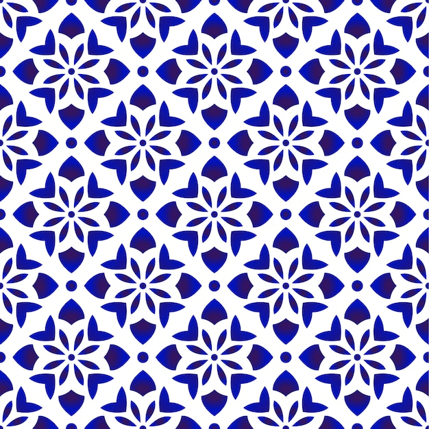Blue and white floral pattern Premium Vector