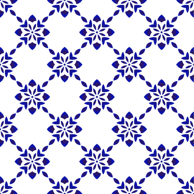 Blue and white floral seamless pattern Premium Vector