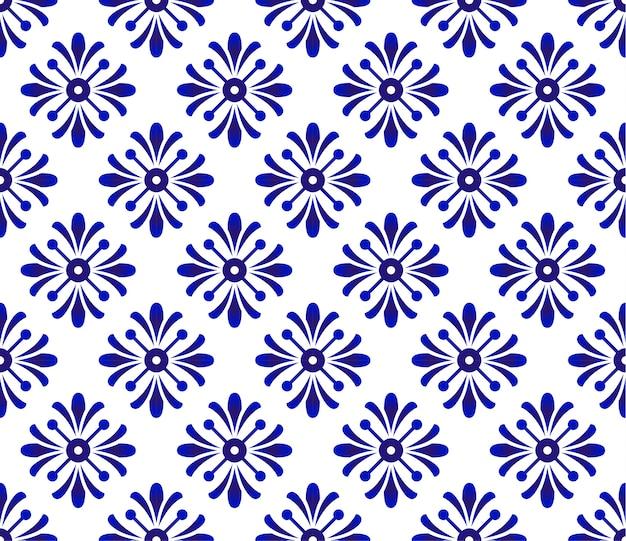 Blue And White Flower Pattern Ceramic Background Porcelain Design