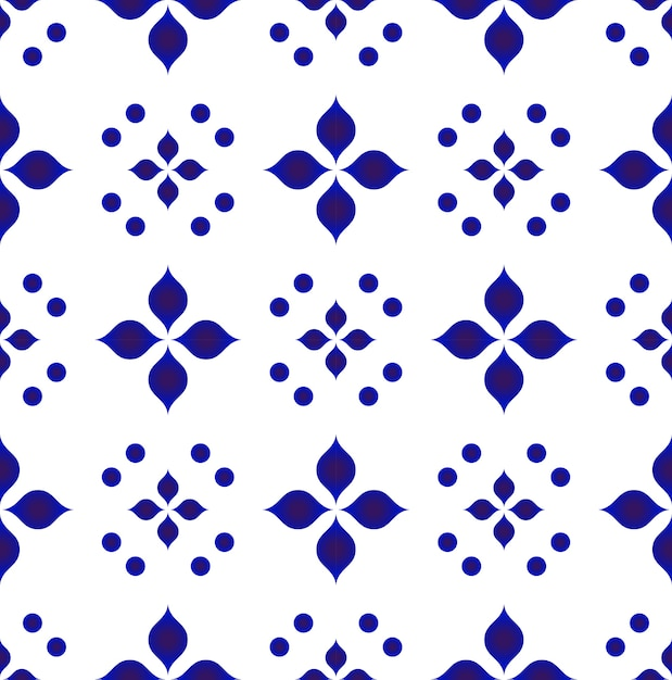 Blue and white flower pattern Premium Vector