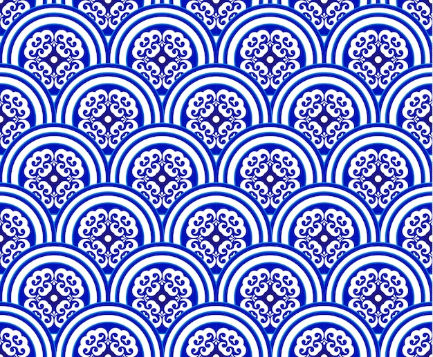 Blue and white japan and chinese seamless pattern Premium Vector