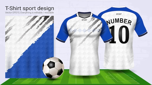 6f030bc91 Blue and white layout sport t-shirt design Vector   Premium Download