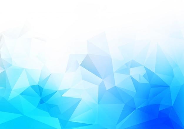 青白の低ポリ三角形形状の背景 無料ベクター