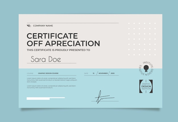 Blue and white minimal certificate template Free Vector