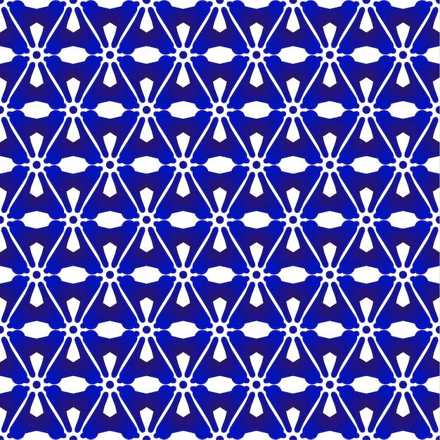 Blue and white pattern japanese and chinese style, porcelain seamless background Premium Vector