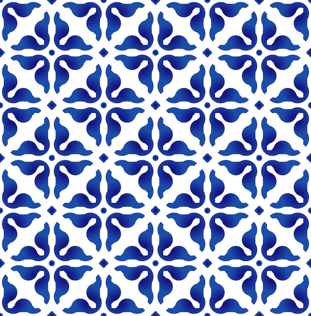 Blue and white pattern, Premium Vector