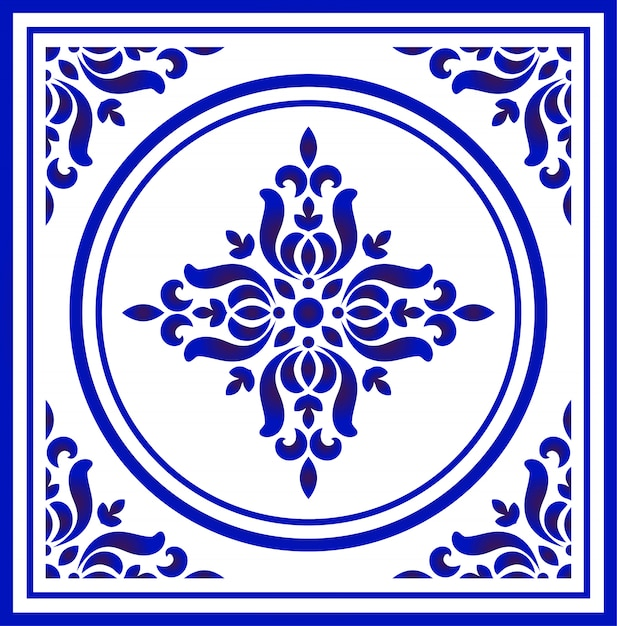Blue and white porcelain flower pattern Premium Vector