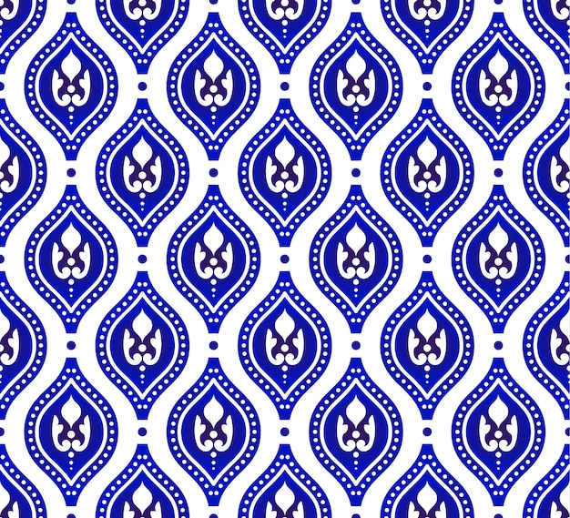Blue and white seamless pattern Premium Vector