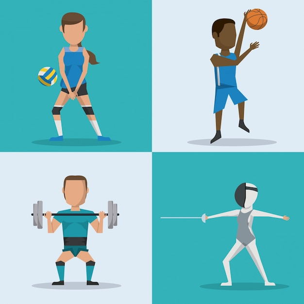 Blue and white square buttons set of athletes with variety sports Premium Vector