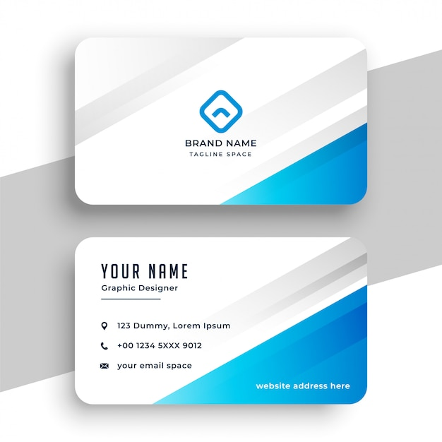 Blue and white stylish business card template Free Vector