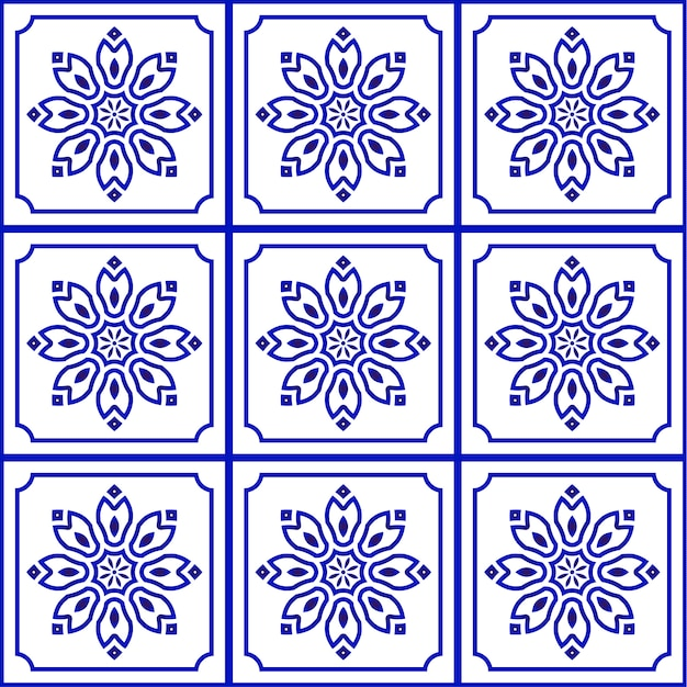 Blue and white tile pattern seamless Premium Vector