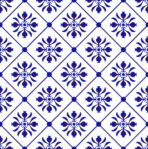 Blue and white tile pattern vector Premium Vector
