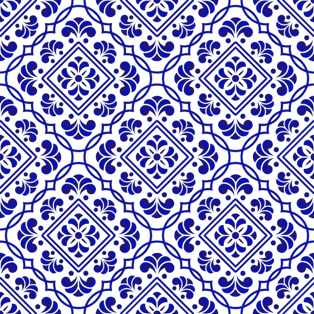 Blue and white tile pattern Premium Vector