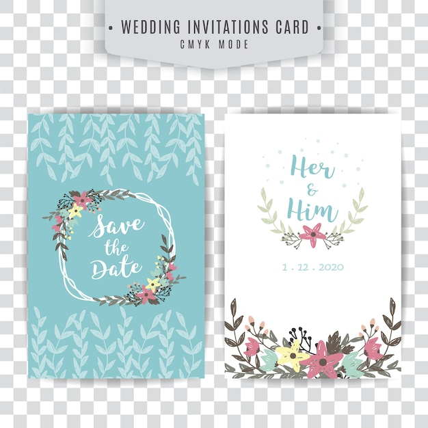 Blue and white wedding card with floral design Free Vector