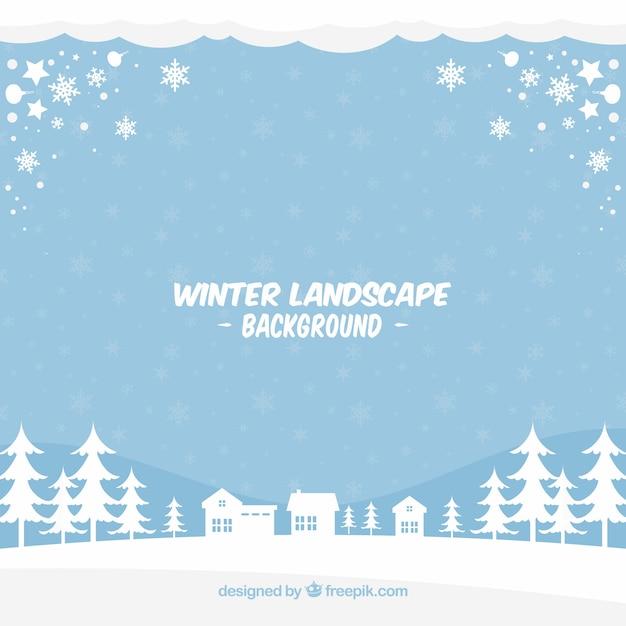 Blue winter landscape background