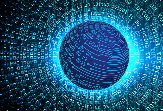 Blue world cyber circuit future technology background Premium Vector