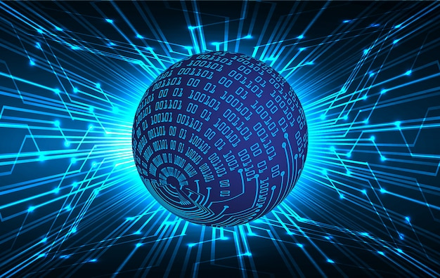 Blue world cyber circuit future technology background Premium Vector