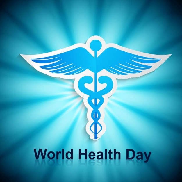 Blue world health day card with a symbol Free Vector