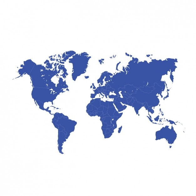 Blue World Map Design Vector Free Download