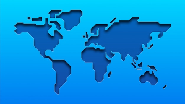Blue world map Premium Vector