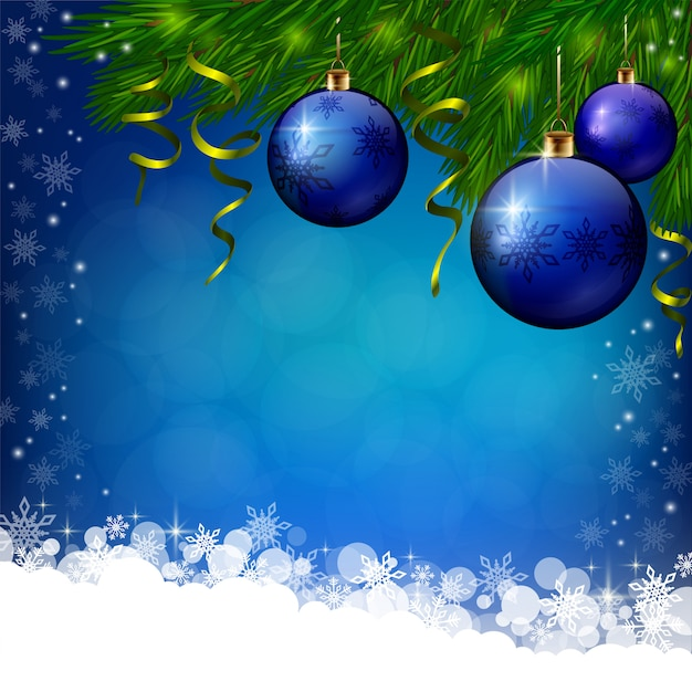 Blue xmas background with blue baubles Premium Vector