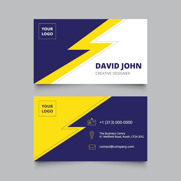 Blue and yellow business card Free Vector