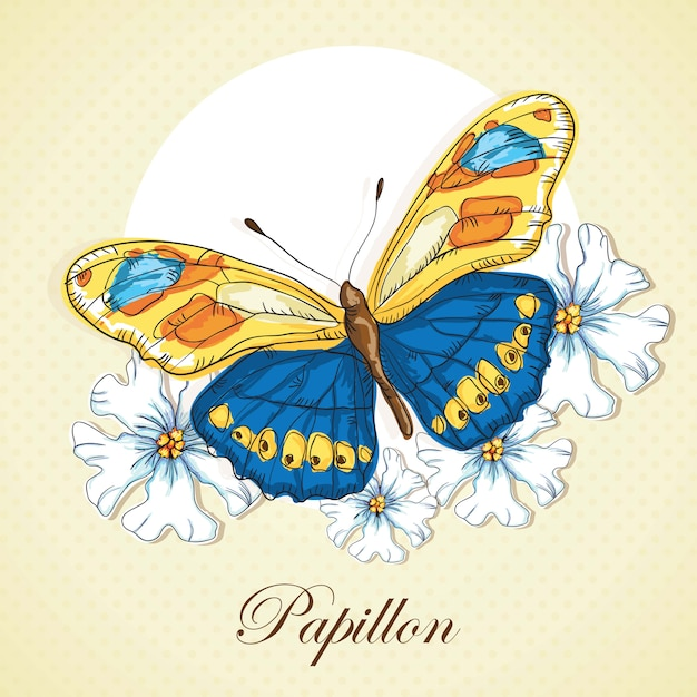 Blue and yellow  butterflie on vintage background whit flowers Premium Vector