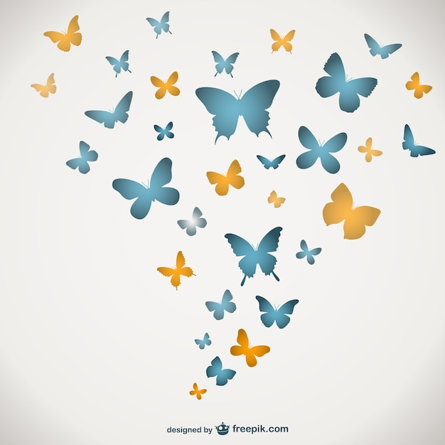 Blue and yellow butterflies Free Vector