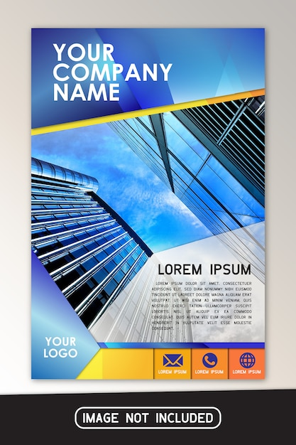Blue yellow company brochure flyer design Premium Vector