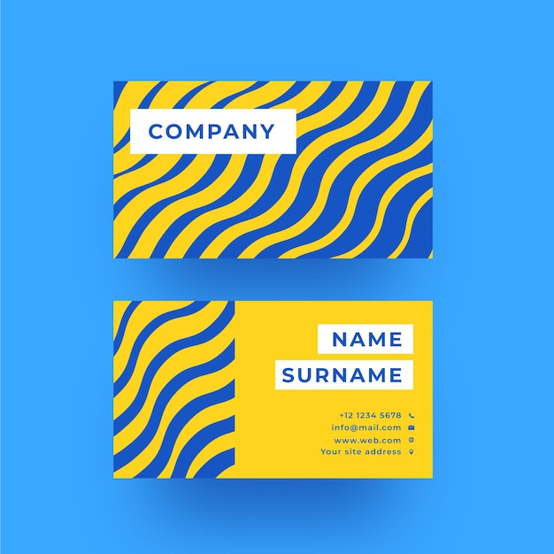 Blue and yellow distorted lines business card Free Vector