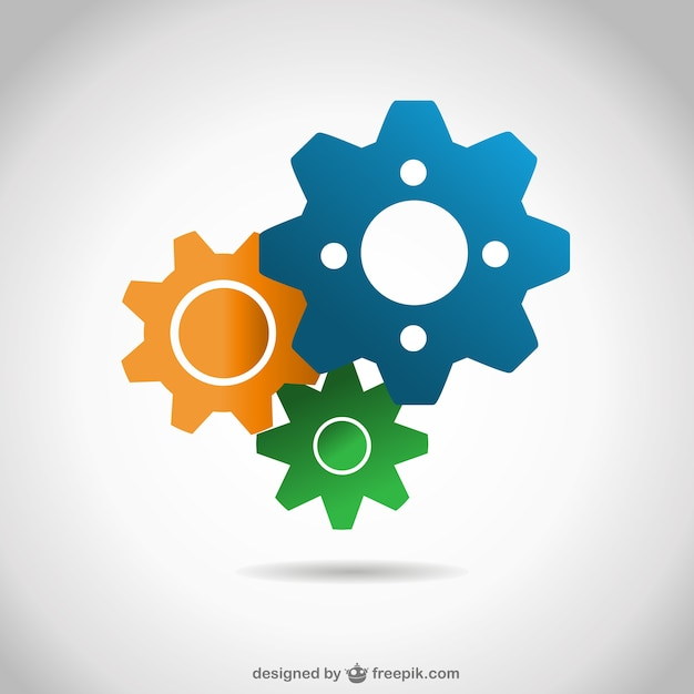Blue, yellow and green gears Premium Vector
