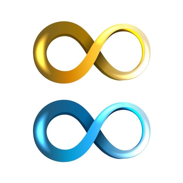 Icone di infinito blu e gialle isolate Vettore gratuito