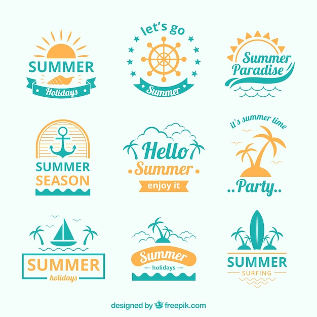 Blue and yellow summer logo collection Free Vector