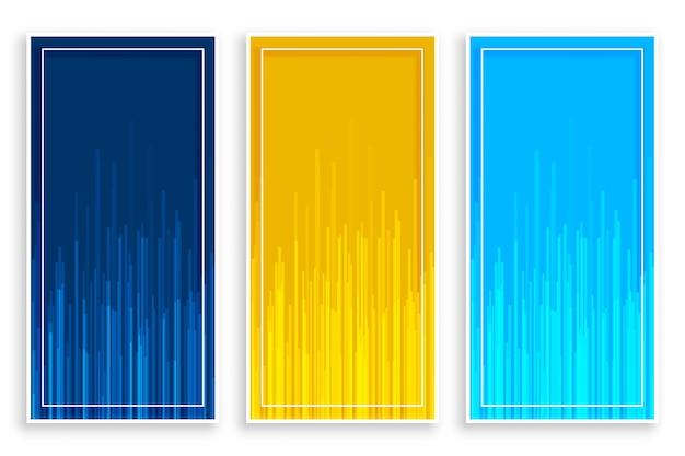 Bandiere verticali gialle blu con linee impostate Vettore gratuito