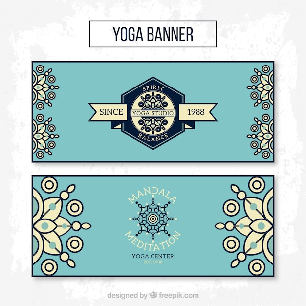 Blue yoga banners in linear style