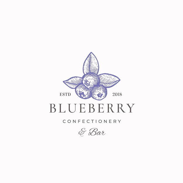 Blueberry confectionary abstract  sign, symbol or logo template. Free Vector
