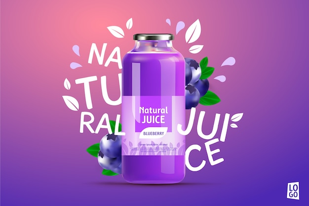 Blueberry juice ad with gradients and lettering Free Vector