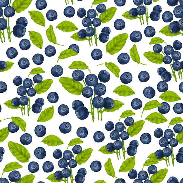Blueberry seamless pattern Free Vector