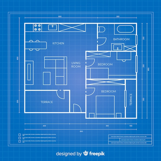Blueprint arhitectural plan for a house Free Vector