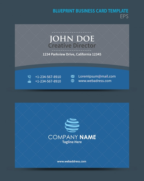 Blueprint business card template vector premium download blueprint business card template premium vector malvernweather Images