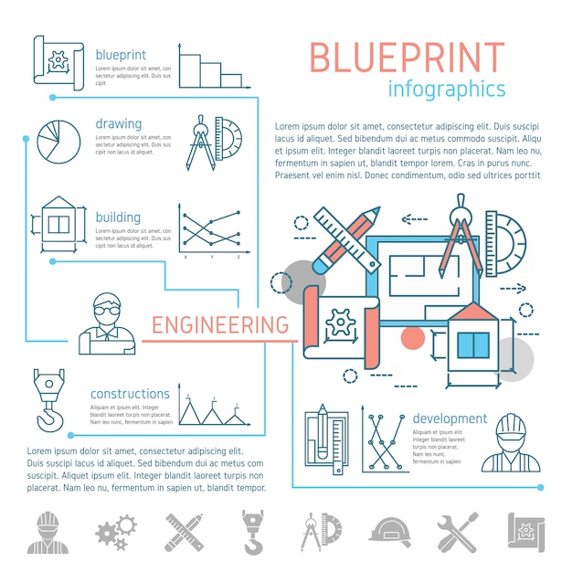 Progetto e ingegneria infografica lineare Vettore gratuito