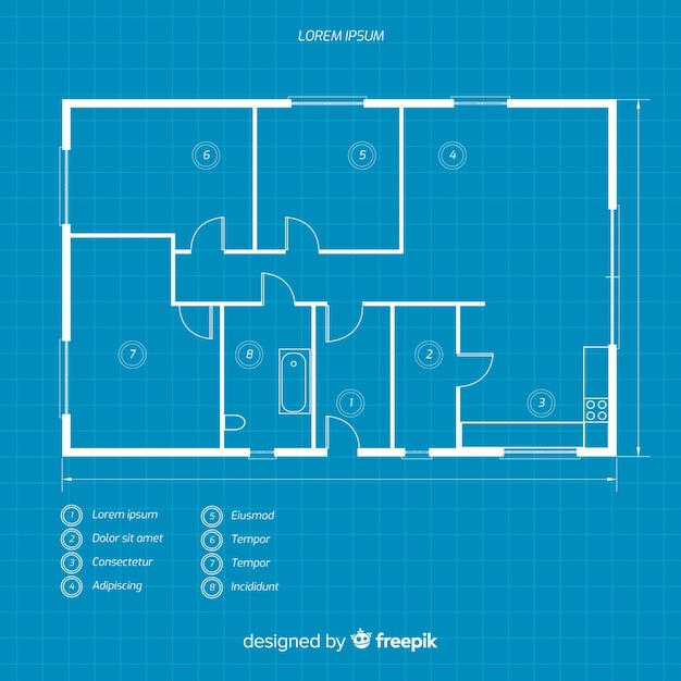 Blueprint of a house flat lay Free Vector