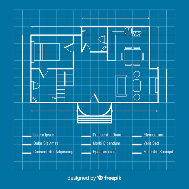 Blueprint of a house sketch plan Free Vector