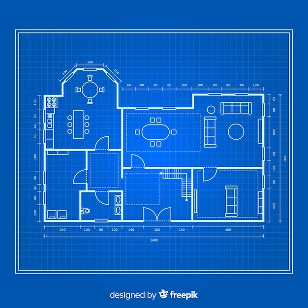 Blueprint of a house top view Free Vector