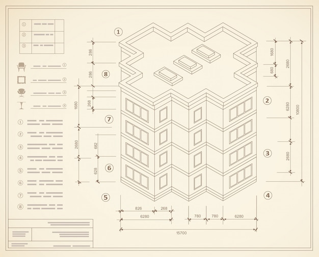 Blueprint isometric plan of a residential building Premium Vector