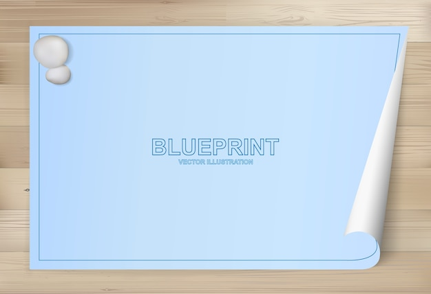 Blueprint paper background for architectural drawing on wood background Premium Vector