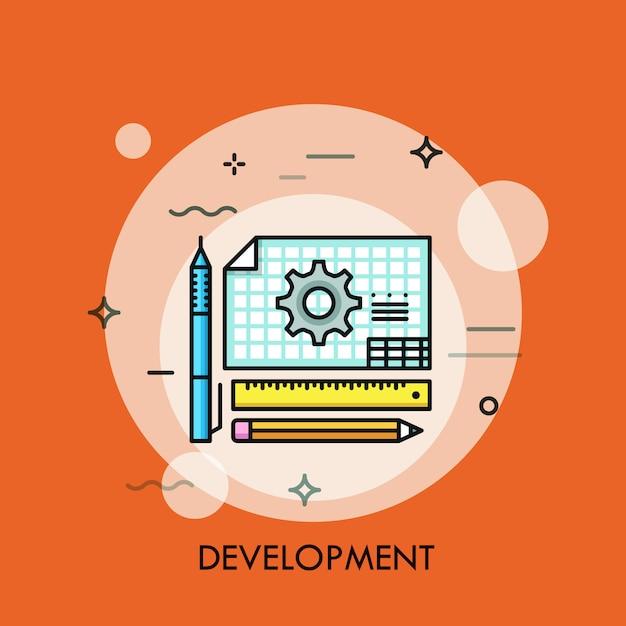 Blueprint and pencils thin line illustration Premium Vector