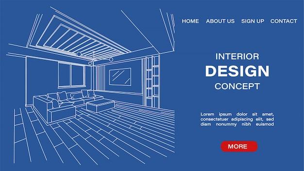 Blueprint sketch of a modern living room Premium Vector